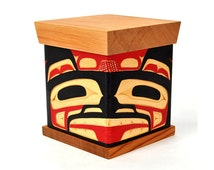 """Large Bentwood Bear Box 8"""" x 7"""" x 7"""" Red and Yellow Cedar Steam-Bent Chest"""