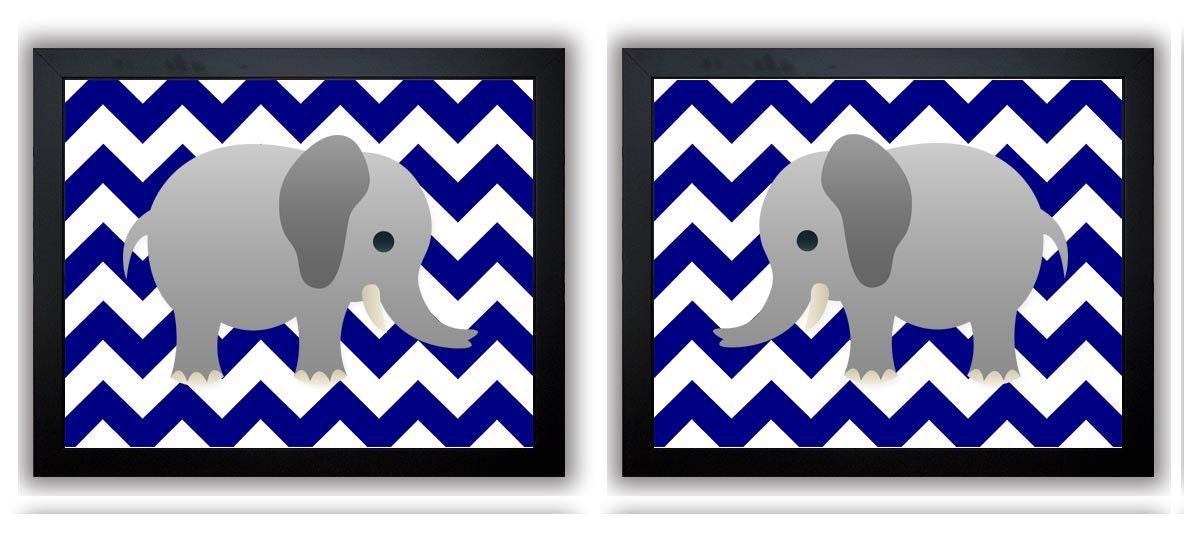 Elephant Nursery Art Navy Blue Elephant Prints Set of 2 Chevron Baby Wall Decor