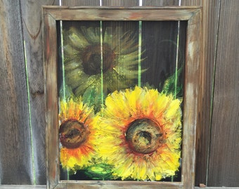 sunflower,sunflower on window screen, hand painting on screen, original art ,Yellow sunflower, Recycled wood frame,Yellow sunflowers