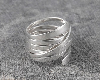 Silver Ring for Women - Unique Handmade Ring - 925 Silver Ring - Modern Ring - Wire Wrapped Ring - Chunky Ring - Thumb Ring - Curly Ring