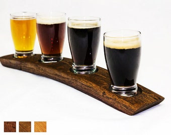 The Original Beer Flight/ Oak Barrel Taster/ Beer tasting set/ Beer serving tray/ Beer glasses/Beer flight/ Barrel flight