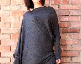 Twisted Gray Tunic - Asymmetric Gray Tunic Modern Streetwear Women's Top Long Sleeves Contemporary  Tunic Dress