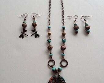 Dragonfly Sunset Vintaj Necklace Set