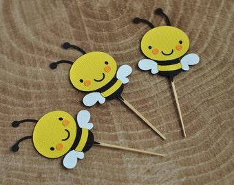 12 Bee cupcake toppers