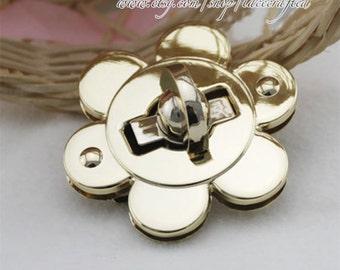 2set 5.5cm Bag lock Purse Twist Lock Closure Turn Lock Fastener Light Golden metal flower lock for tote handbag book clutch bag shoulder