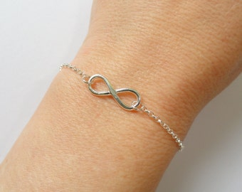 Sterling silver Infinity bracelet, Infinity bracelet, Infinity jewelry, Bridesmaid gift, Gifts
