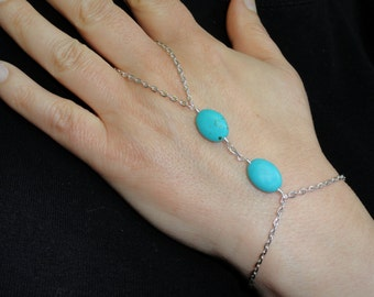 Silver turquoise slave bracelet, Turquoise slave bracelet, Slave bracelet ring, Turquoise hand bracelet, Slave bracelet UK