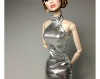 Dolls dress for FR,Silkstone,Vintage barbie-Halter Neck- Silver No.745