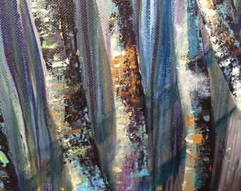 Fantasy Birch. An original painting by Susan Whatling.