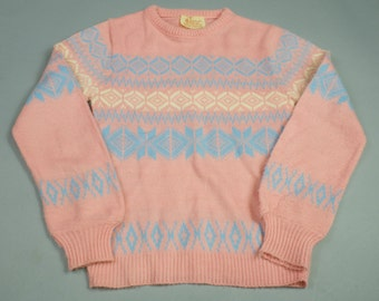 Vintage 80s Pink & Blue Snowflake Womens Sweater Small