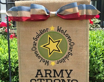 Custom Monogrammed Patriotic Military Burlap Garden Flag Personalized with Name
