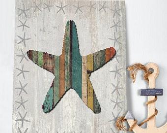Distressed Wood Effect Starfish 1: nautical print Coastal Wall Art Coastal living nautical decor beach house art Beach home décor