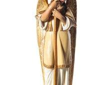 "Archangel Gabriel Antique Huge 25"" Polycrome Cast Iron Figural Candle Holder - c.1900s"