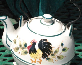 Teapot, Wire Handle and Hand Painted