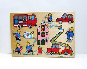 Wooden Vintage Simplex Jigsaw Puzzle Fireman, Fire Trucks 1970s