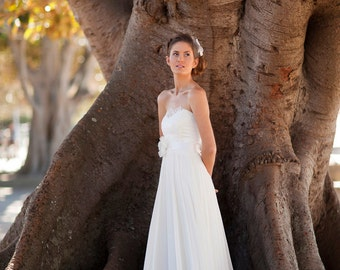 romantic country flowy strapless lace wedding gown destination garden beach wedding