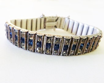 Art Deco sterling 3 row clear and blue channel set glass paste stone bangle bracelet 1925 size 6 inches
