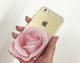 Clear Plastic Case Cover For Iphone 5 5s - Pink Rose