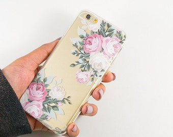 Clear Plastic Case Cover For Iphone 5 5s - VIntage Roses
