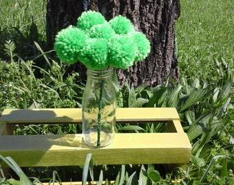 12 Spring Green yarn pom pom flowers. Pom pom bouquet centerpieces. Wedding/ baby shower decorations.