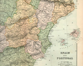 Vintage Spain Map Etsy - Large map of spain