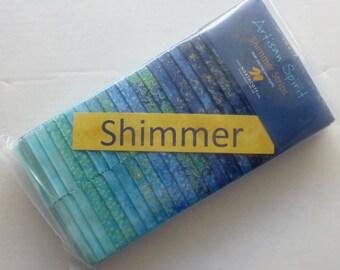 Cotton Fabric,Quilt Craft,Artisan Spirit Shimmer~Blue Lagoon~Northcott~2 1/2 Inch Strips, Fast Shipping, JR143