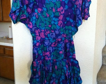 Flowery Silk Dress