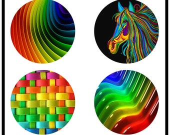 Colorful Images - 38mm Digital Downloads - Digital Collage Sheets - Collage Sheet - 38mm Rounds - Cabachons - Buttons - DDP674