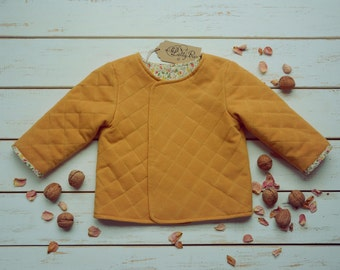 Girls Mustard Jacket Floral Lining Quilted Cotton