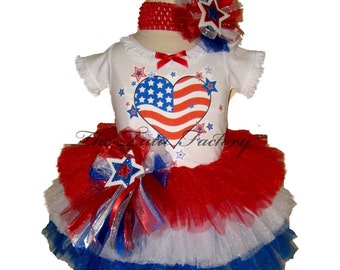 4th of July Tutu . Infant & Toddler . AMERICAN FLAG HEART Tiered Tutu Set