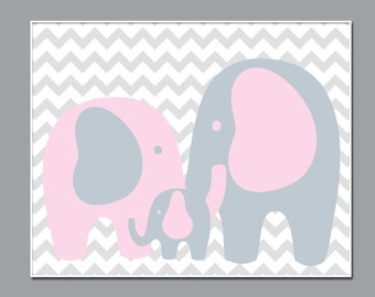 Baby Girl Nursery Elephant Art Print, Elephant Family Art Print, Baby Girl Nursery Wall Decor Print - Custom Color - N228