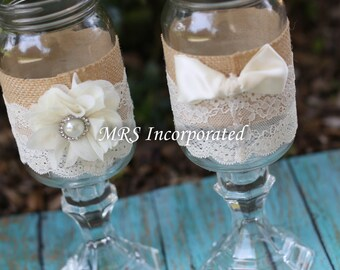 Wedding His and Hers Mason jars, Mason Jars Toasting Glasses, Rustic Toasting Glasses, Mason Jars