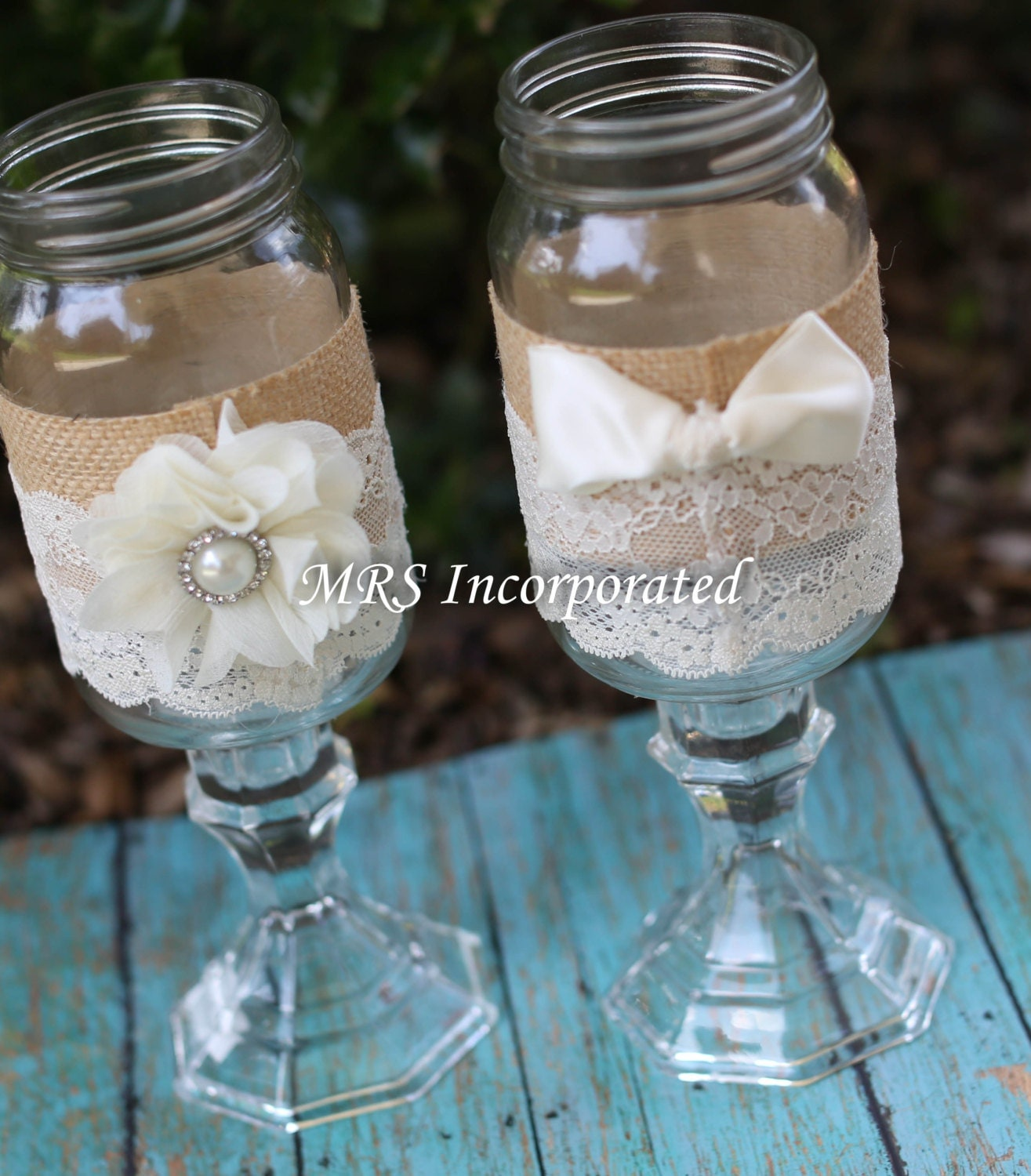 Blue Mason Jars Wedding Ideas: Wedding His And Hers Mason Jars Mason Jars Toasting Glasses