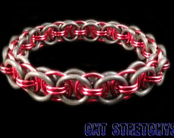 Chainmail Bracelet (Helm Weave) Red Stretchy