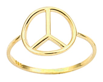 Peace 14k Solid Gold Ring Peace Sign Ring