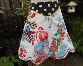 Upcycled Half Apron, Women, Vintage Linen Tablecloths, Fruit, Patchwork, Gingham, Polka Dots, Scalloped Hem, The Vintage Half Audrey