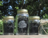 4 Piece Personalized Blended Family Tree Unity Sand Set / Mason Jar / Family of 3 / Sand Ceremony / Child / Choice of Fonts and Lid Colors