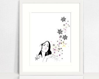 Meagan's Wish - Snowflakes and Magic Fine Art Illustration Print, Fashion Wall Art Print, Poster Illustration, Art for Home, Office