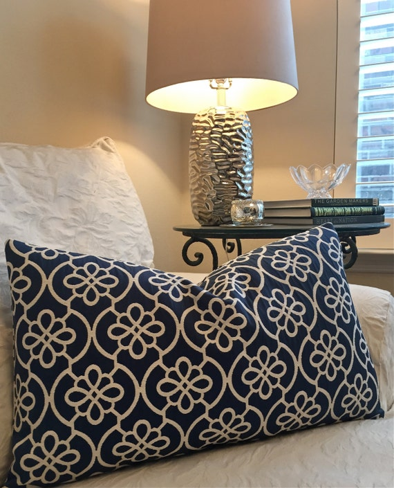 Blue and Cream Decorative Pillow CoverGeometric
