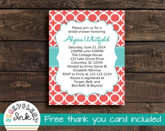 Wedding Shower Invitation Coral and Turquoise - Printable Bridal Shower Invite - Couples Shower Invitation with FREE Thank You Card
