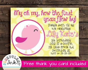 First Birthday Girl Party Invitation - Bird Theme Party Invite - 1st Birthday Printable Invitation