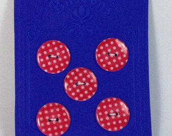 5 Buttons red with white pois 22mm 2 holes in plastic.