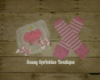 1st Birthday Diaper Cover and Leg Warmer Set-Readt to Ship