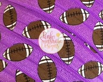"""Footballs on Purple 5/8"""" Fold Over Elastic - 1, 3 or 5 Yards"""