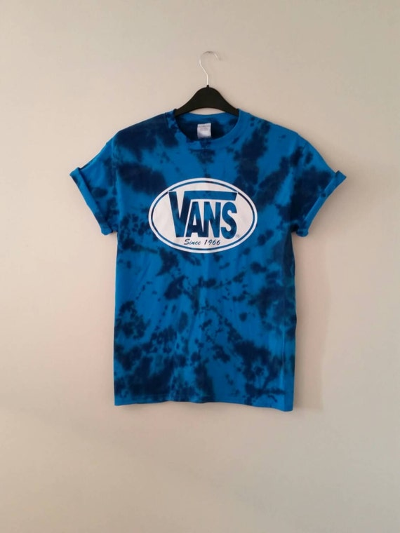 unisex customised acid wash tie dye vans t shirt sz medium