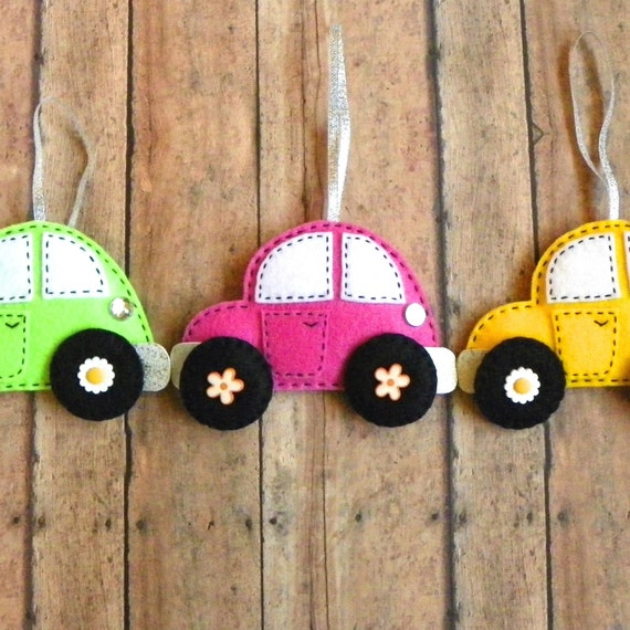 Personalized Felt Car Christmas Ornament