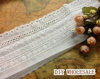 2 yards Cotton Embroidery Lace Trim ivory lace fabric  DIY Handmade Garment Accessories Sewing Craft 11cm wide