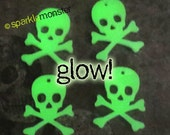 GLOW in the Dark Skull and Crossbones Charms - 4 pcs, laser cut acrylic, flat backs, goth