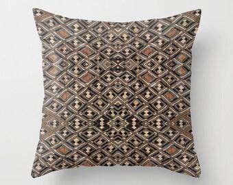 African Art Throw Pillow - Featuring Exclusive Kuba Cloth Design #2 / Spun Polyester