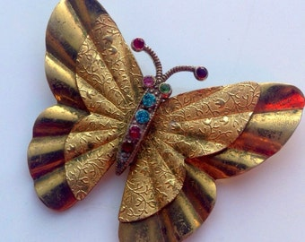 Antique Yellow Metal Art Nouveau Butterfly Brooch Set With Coloured Paste